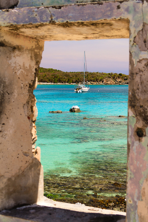 A window onto paradise at Littie Lameshur Bay in the Virgin Islands National Park St. John, US Virgin Islands. This more recent ruin has one of the best locations and views on Earth.