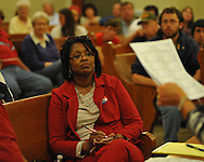 Lafayette County circuit clerk candidate Baretta Mosley awaits voting results at the Lafayette County Courthouse in Oxford, Miss. on Tuesday, November 8, 2011. Mosley won election.