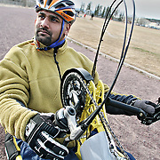 Ian Stewart/Yukon News<br /> Ramesh Ferris on his hand cycle at FH Collins on Wednesday. Ferris and Yukon STARS are working to make sports more inclusive in the Territory.