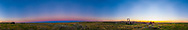 A 360&deg; panorama of the twilight sky, August 26, 2014 at the 76 Ranch Corral in the Frenchman River valley, in Grasslands National Park, Saskatchewan. The sunset is to the right in the west; to the left in the east is the curving blue arc of Earth&rsquo; shadow fringed on top with the pink Belt of Venus. <br /> <br /> This is a 12-segment horizon pan shot with the 24mm lens at 30&deg; spacings, at the same 1/8s f/8 exposure, with the Canon 5D MkII. Nevertheless, the rapidly changing sky colors produced some color banding at segment boundaries. PTGui did a better job at seamlessly stitching the segments than Photoshop.