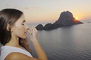 Yoga Shiromani Lena Tancredi, doing yoga in nature, in Ibiza, Spain - Photo by Nano Calvo