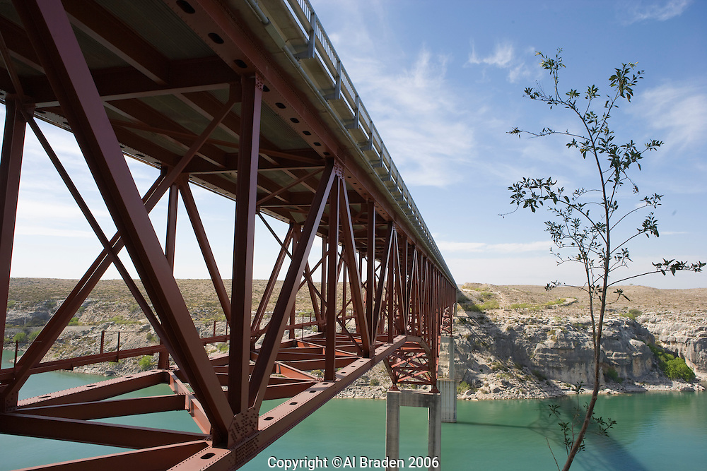Rt. 90 Bridge over the Pecos River as it reaches the Rio Grande between Comstock and Langtry, Texas.