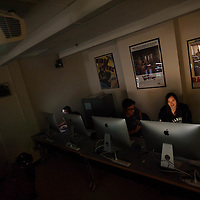 Brandeis students in a digital editing class with professor Daniel Mooney in Waltham, MA.