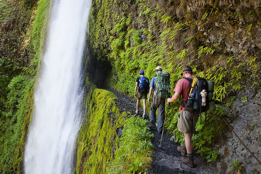 Hikers approach Tunnel Falls on the Eagle Creek Trail, cut into the basalt cliff behind the waterfall, in Columbia River Gorge National Scenic Area, Oregon.