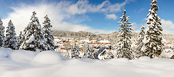 """""""Downtown Truckee 31"""" - Stitched panoramic photograph of a snowy historic Downtown Truckee, shot in the afternoon, after a big snow storm."""