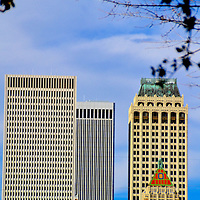 Downtown Skyline and Phitower Building, Oklahoma<br /> Once calling itself, &ldquo;The Oil Capital of the World,&rdquo; Tulsa, Oklahoma also claims to have originated Route 66. Their downtown has one of the largest collections of Art Deco buildings in the U.S. An example is the 1928 Phitower Building on the right foreground.