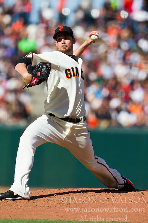 July 28, 2010; San Francisco, CA, USA;  San Francisco Giants starting pitcher Jonathan Sanchez (57) pitches against the Florida Marlins during the third inning at AT&T Park.  San Francisco defeated Florida 10-9 in 10 innings.