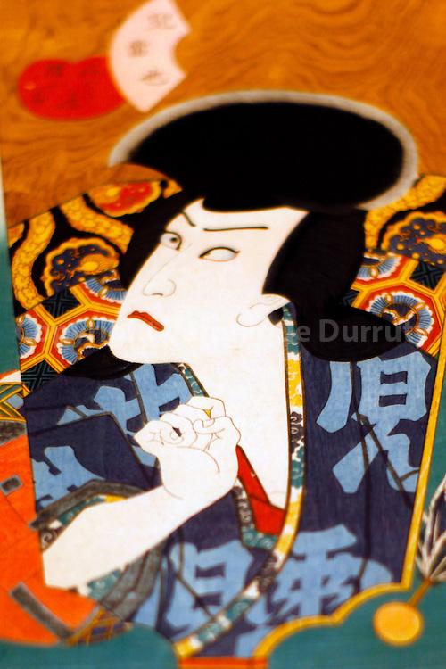 The Kabuki actor Kawagaraki Gonjuro as Jiraiya (1862) . Edo Museum. Tokyo, Honshu, Japon. // Portrait de l'acteur de Kabuki Kawagaraki Gonjuro en train de jouer Jiraiya (1862) . Musee de Edo, Tokyo, Honshu, Japon.