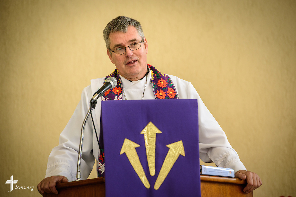 The Rev. Daniel Conrad, LCMS missionary to Mexico, preaches during worship at the Lutheran Church of San Pedro on Sunday, Feb. 14, 2016, in Mexico City, Mexico. LCMS Communications/Erik M. Lunsford