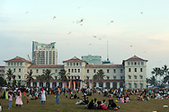People fly kites in a park, a regular Sunday ritual, in Colombo, Sri Lanka, July 5, 2009. With the end of the 26 war between the Sri Lankan government and the LTTE, security in the capital city remains on high alert.