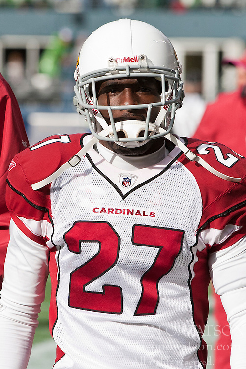 October 24, 2010; Seattle, WA, USA;  Arizona Cardinals cornerback Michael Adams (27) on the sidelines against the Seattle Seahawks during the second quarter at Qwest Field. Seattle defeated Arizona 22-10.