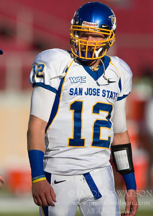 September 19, 2009; Stanford, CA, USA;  San Jose State Spartans quarterback Jordan La Secla (12) before the Stanford Cardinal game at Stanford Stadium.