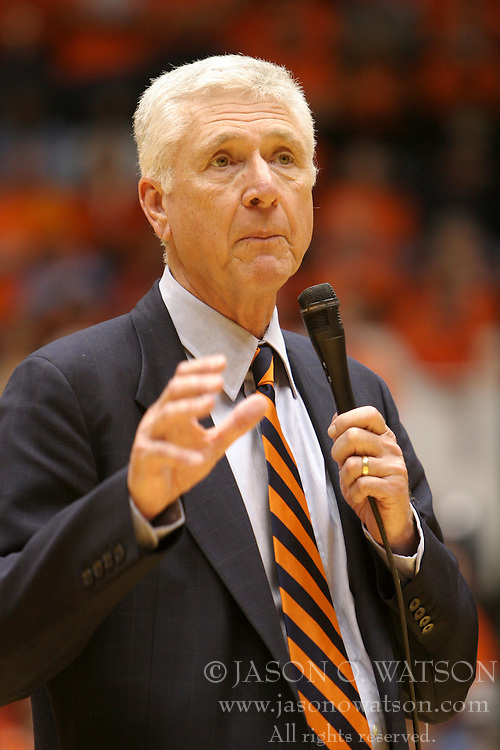 Former UVA Athletic Director and Men's Basketball Coach Terry Holland addresses UVA fans during halftime as part of the Last Ball in U-Hall celebrations.