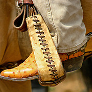 The boots, spurs, and chaps are functional pieces of equipment used every day by the American cowboy. As well as being functional they can be quite decorative and the spurs are often inlayed with silver or gold. Fancy boots are made of exotic leathers such as ostrich.
