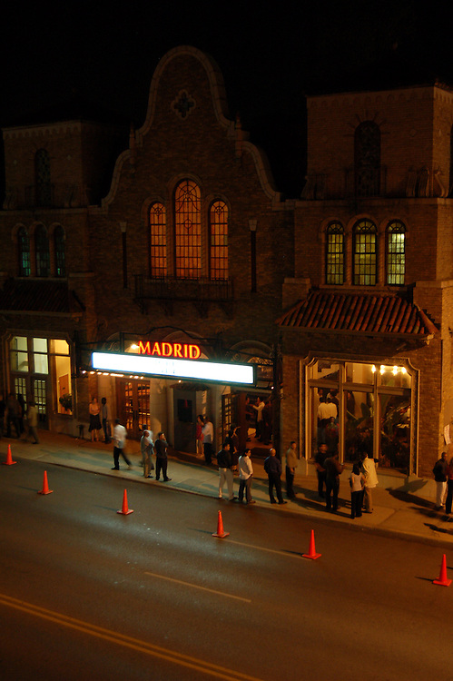 A crowd gathers outside of the Madrid Theatre in Kansas City, MO.