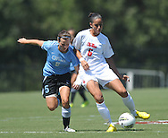 Ole Miss' Rafaelle Souza (6) vs. The Citade's Hannah Warne (5)l in women's soccer action at the Ole Miss Soccer Field in Oxford, Miss. on Monday, September 12, 2011. Ole Miss won 6-1.