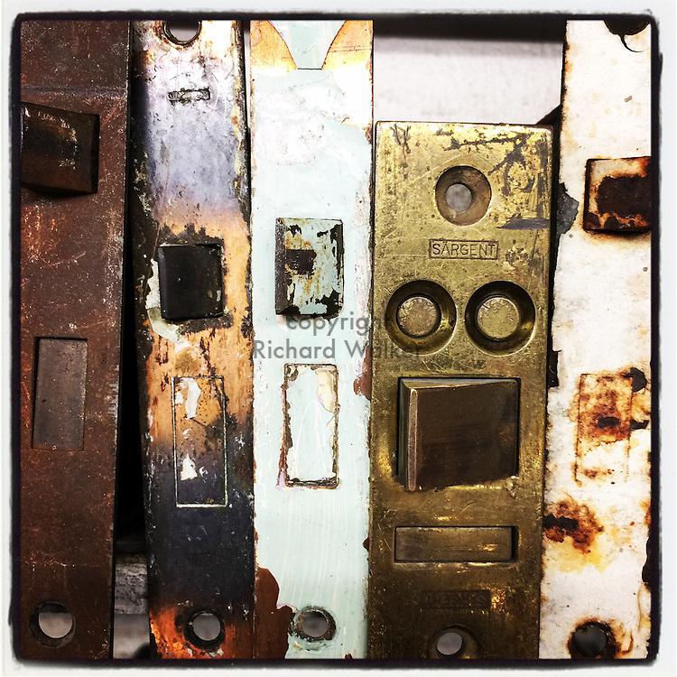 2016 SEPTEMBER 17 - Various door lockset hardware at a second use store, Seattle, WA. By Richard Walker