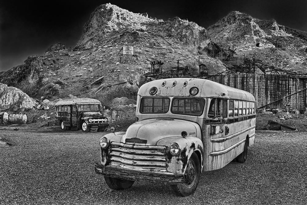 Abandoned School Buses - Eldorado Canyon Techatticup Mine - Nelson NV - HDR -  Infrared Black & White