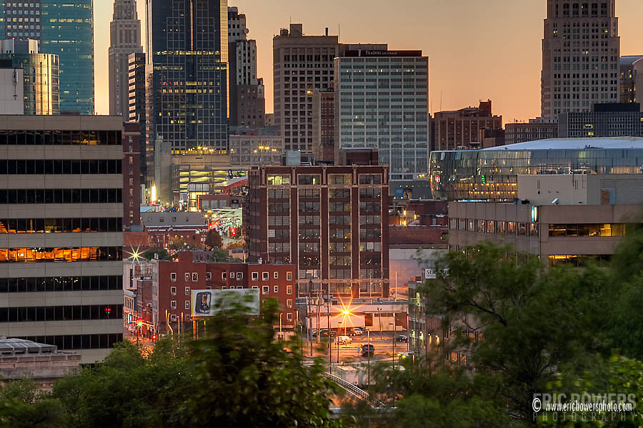 Downtown Kansas City, Missouri, looking from Liberty Memorial through the Crossroads District toward the downtown loop.