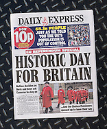 British newspaper Daily Express front page on the day after the EU Referendum, London, UK - 24 Jun 2016