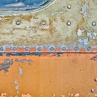 Rivets on a rusting municipal bus