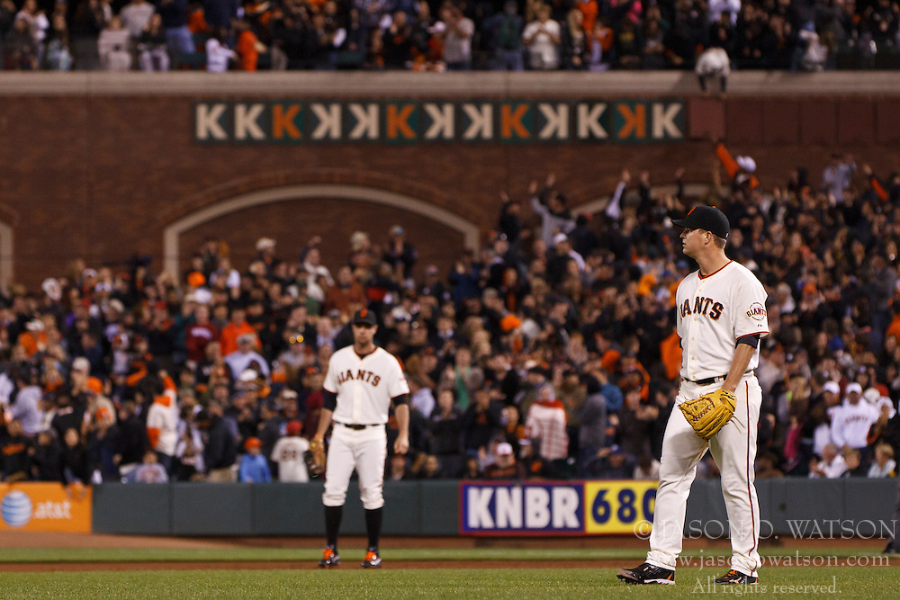 SAN FRANCISCO, CA - JUNE 13: Matt Cain #18 of the San Francisco Giants stands behind the pitchers mound after a strike out against the Houston Astros during the eighth inning at AT&T Park on June 13, 2012 in San Francisco, California. The San Francisco Giants defeated the Houston Astros 10-0. (Photo by Jason O. Watson/Getty Images) *** Local Caption *** Matt Cain