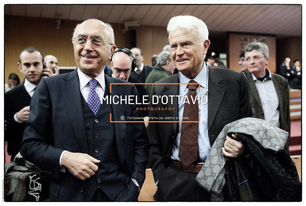 nella fotografia il procuratore aggiunto Raffaele Guariniello e il procuratore capo di Torino, Giancarlo Caselli all'ultima udienza del Processo Eternit al Palagiustizia di Torino.