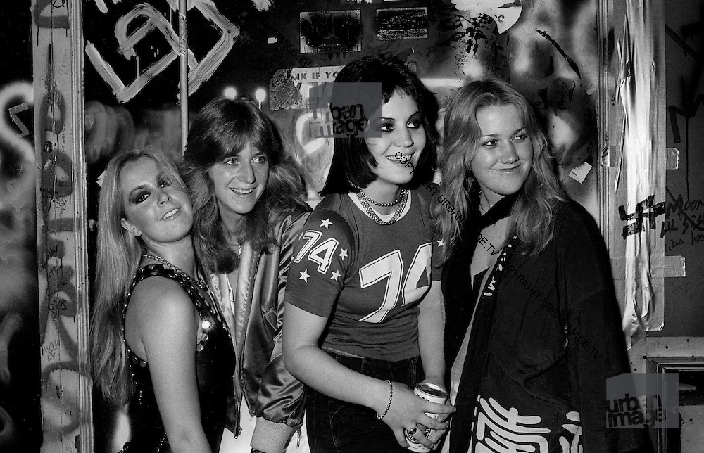 The Runaways (L_R) Vicki Blue, Joan Jett, Sandy West and Lita Ford,  photographed in 1978.