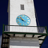 Bermuda, St. George's. St. Peter's Church Clock tower.