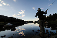 Fly fishing at sunset, Wind River Range.