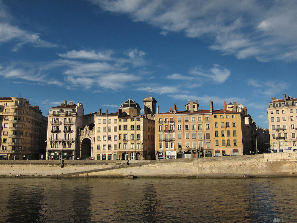 Buildings along the Saône river in Lyon, in south-eastern France