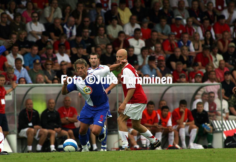 16.08.2007, Anjalankoski, Finland..UEFA Cup, 2nd Qualifying round, 1st leg match.Myllykosken Pallo-47 - Blackburn Rovers.Tugay Kerimoglu (Blackburn) v Mikko Hyyrynen (MyPa).©Juha Tamminen.....ARK:k