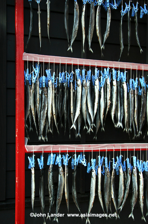 Dried herring, a popular Japanese fish dish curing on a rack.