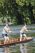 Maidenhead. Great Britain. Amateur Punting Championship, Women's Pair,  Thames Punting Club Regatta. River Thames, Bray Reach. Sunday  14/08/2011   [Mandatory credit: Peter Spurrier Intersport Images]