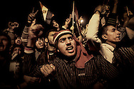 Protesters in Cairo's Tahrir Square react angrily at Egyptian President Hosni Mubarak announcing on TV he will not step down. The next day, he will quits. 10 February 2011.