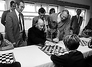 Passing on tactical advice: President Hillery visits the Community Games, Mosney, County Meath.<br />13 September 1980