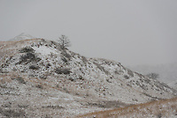 A late spring snow covers the landscape at Theodore Roosevelt National Park. <br />