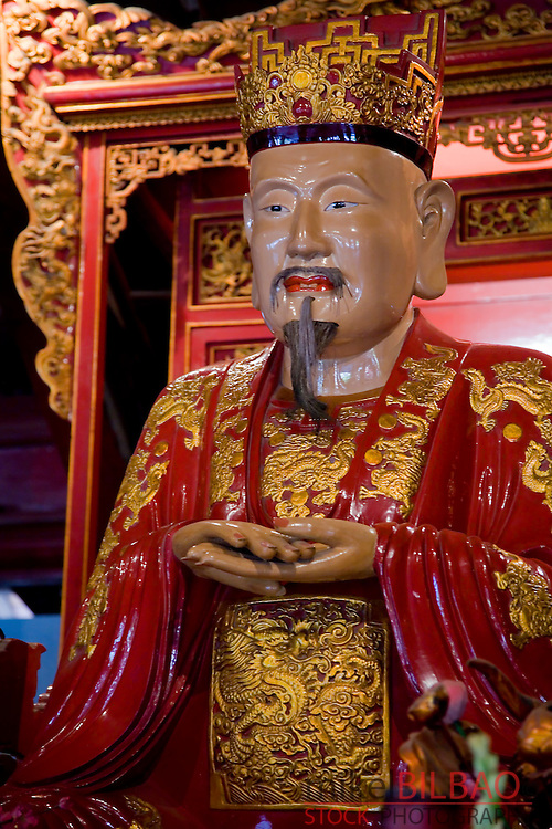 Confucius sculpture. Temple of the Literature.<br /> Hanoi, Vietnam.