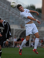 Ohio State midfielder Brady Wahl (3) heads a ball as OSU takes on Binghamton in the first half of an NCAA men's college soccer game in Columbus, Ohio on Sunday, Sept. 11, 2011, at Jesse Owens Memorial Stadium.