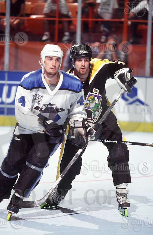 1996: Bullfrogs player Todd Wetzel in action during a Roller Hockey International RHI indoor inline hockey game at the Great Western Forum.  Original image scan from negative, print or transparency.  Image is available for personal or editorial use only.