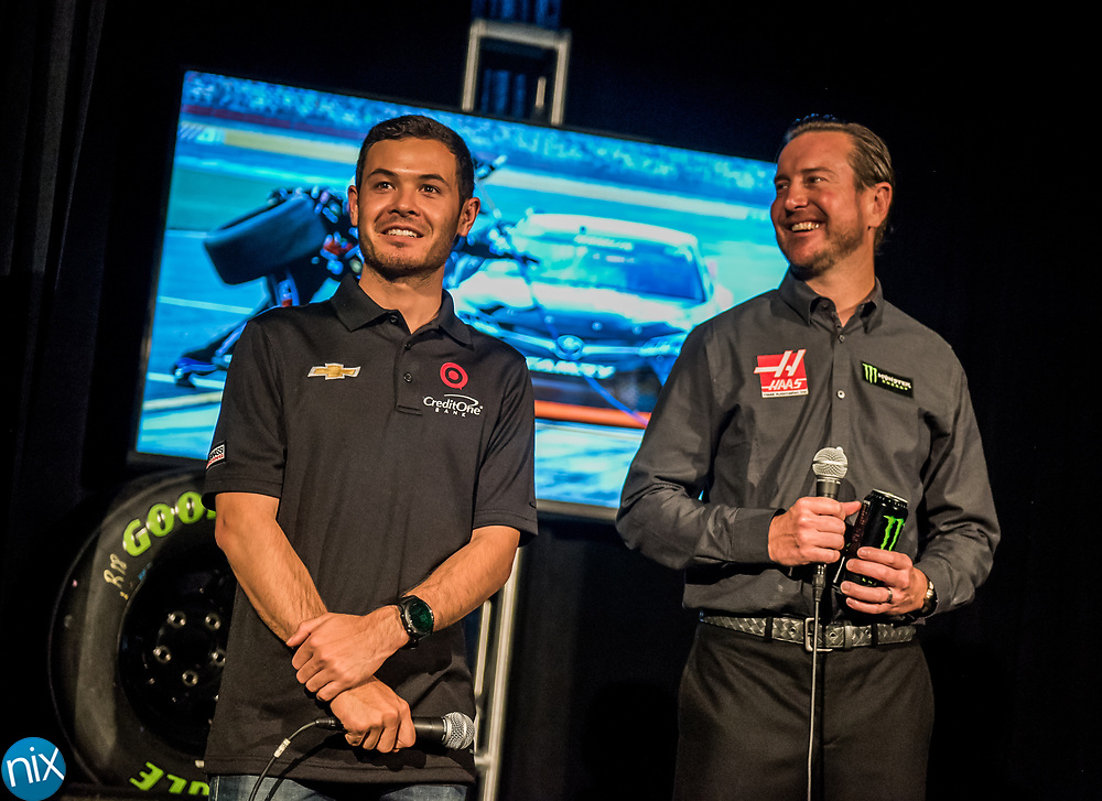 NASCAR drivers Kyle Larson, at left, and Kurt Busch speak during press event at Charlotte Motor Speedway announcing the new format for the upcoming Monster Energy NASCAR All-Star Race. Teams will have the option for a softer tire that will give drivers more grip during the four-segment race.