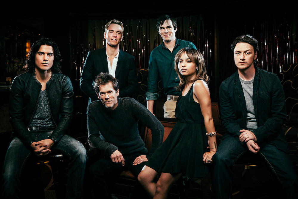 From left, actors Alex Gonzalez, Kevin Bacon (seated), Michael Fassbender, Nicholas Hoult, Zoe Kravitz and James McAvoy, pose for portrait photographs at<br /> the Dorchester hotel in London Sunday, May 22, 2011. (AP Photo/Greg Funnell)