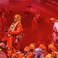 One of the priests of the temple praying at the beginning of the celebrations during the festival of colors, Holi, India.
