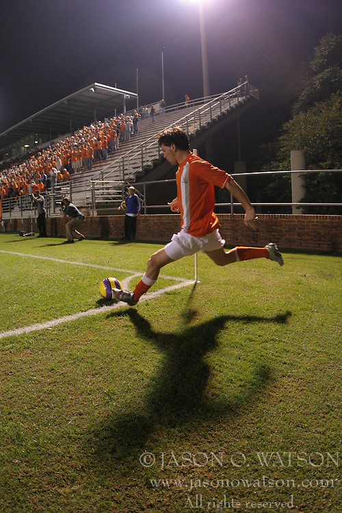Virginia Cavaliers MF/F Nico Colaluca (8) on a corner kick.  The Virginia Cavaliers Men's Soccer Team defeated the Maryland Terrapins 3-0 on October 11, 2006 at Klöckner Stadium in Charlottesville, VA...