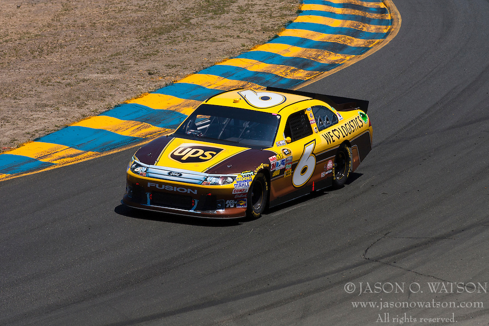 June 26, 2011; Sonoma, CA, USA;  NASCAR Sprint Cup Series driver David Ragan (6) in turn 2 during the Toyota/Save Mart 350 at Infineon Raceway.