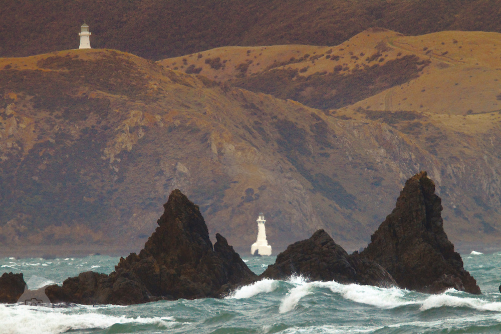 The Pencarrow Head lighthouse (top) marks the eastern entrance of Wellington harbour (New Zealand). It was built in  1859 and manned by New Zealand's only female lighthouse keeper, Mary Jane Bennett. Plagued by low visibility  caused by low clouds and fog, a lower lighthouse was built in 1906, at Baring Head. Pencarrow Head was eventually decommisioned in 1935.