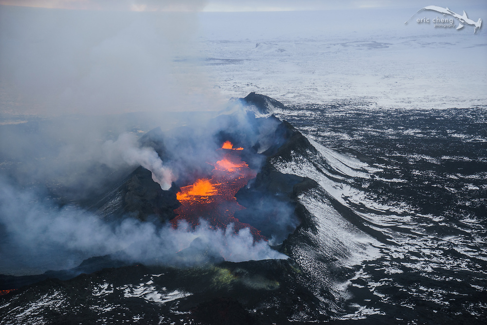 Aerial view of Holuhraun eruption from helicopter