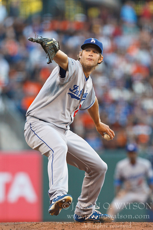 SAN FRANCISCO, CA - JUNE 26: Clayton Kershaw #22 of the Los Angeles Dodgers pitches against the San Francisco Giants during the first inning at AT&T Park on June 26, 2012 in San Francisco, California. The San Francisco Giants defeated the Los Angeles Dodgers 2-0. (Photo by Jason O. Watson/Getty Images) *** Local Caption *** Clayton Kershaw