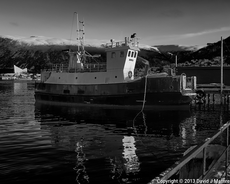 Lenvik fishing trawler docked in Tromsø, Norway. Image taken with a Leica X2 camera (ISO 100, 24 mm, f/5.6, 1/250 sec). Raw image processed with Capture One Pro (including conversion to B&W).