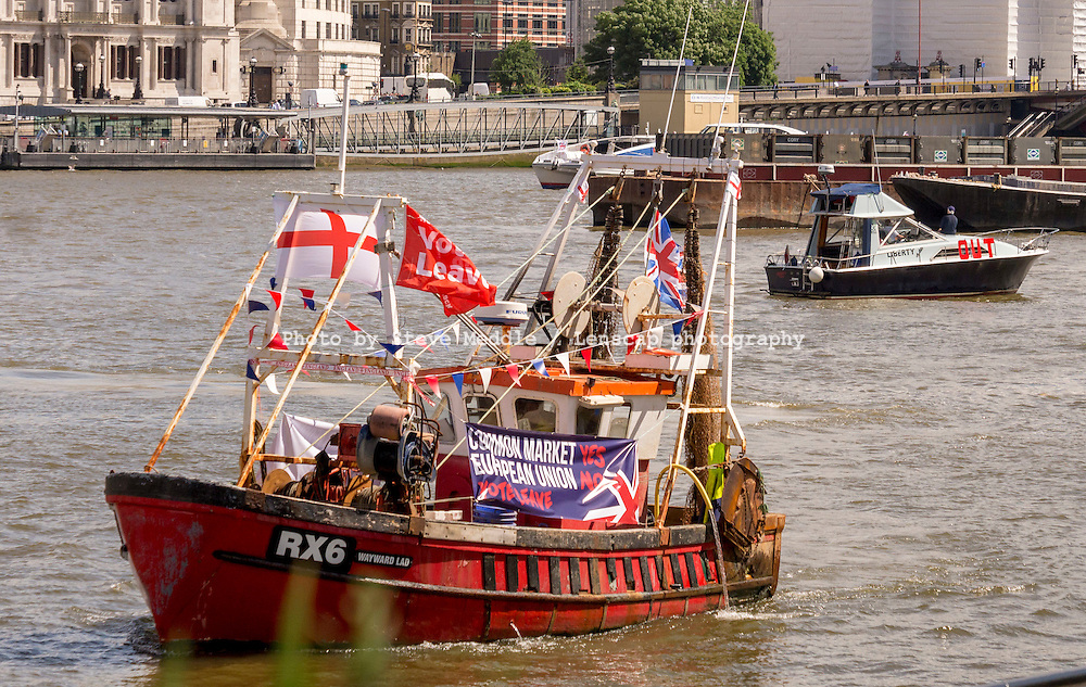 Fishing boat flotilla EU protest travels along River Thames, London, Britain